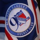 2017 remiendo del jersey del aniversario de los New York Rangers 90.os del funcionario Fotografía de archivo