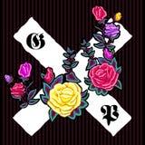 Remiendo floral del bordado con las rosas y las muestras góticas stock de ilustración