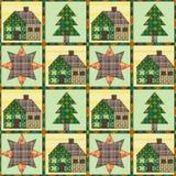 Remiendo inconsútil del fondo del modelo del árbol de navidad y de la casa Imagen de archivo libre de regalías