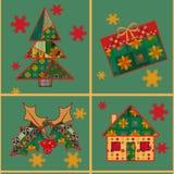 Remiendo inconsútil del fondo del modelo del árbol de navidad y de la casa Imagenes de archivo