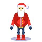 Remiendo rojo divertido de Papá Noel Vector Tarjeta o cartel de felicitación de la Navidad Elemento del diseño para los saludos Fotos de archivo libres de regalías