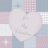 Remiendo sensual por un día de tarjetas del día de San Valentín con el corazón en el centro ilustración del vector