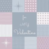 Remiendo sensual por un día de tarjetas del día de San Valentín con la superficie de la plantilla en el centro stock de ilustración