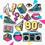 Remiendos de la moda adentro en estilo de 80s-90s Memphis imagenes de archivo