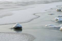 Remiendos del deshielo en el río imagen de archivo libre de regalías