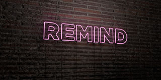 REMIND -Realistic Neon Sign on Brick Wall background - 3D rendered royalty free stock image. Can be used for online banner ads and direct mailers Royalty Free Stock Photos