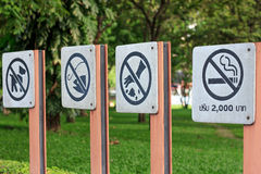 Remind symbol. Are prohibited in the park Stock Images
