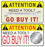 Reminder for acquisition of industrial tools Royalty Free Stock Photography