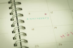 Reminder for anniversary in planner Stock Photography