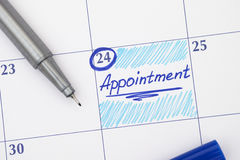 Reminder Appointment in calendar Royalty Free Stock Photos