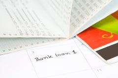 Reminder  bank loan Stock Photo