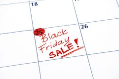 Reminder Black Friday Sale in calendar. Royalty Free Stock Photo