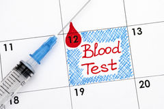 Reminder Blood Test in calendar with syring Royalty Free Stock Image