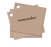 Reminder. Brown sticky note attached on white background Royalty Free Stock Photography