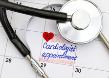 Reminder Cardiologist Appointment in calendar with stethoscop Royalty Free Stock Image