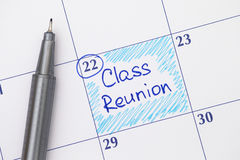 Reminder Class Reunion in calendar with pen. Reminder Class Reunion in calendar with blue pen Stock Photography