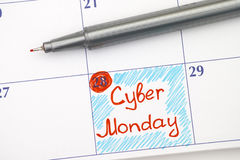 Reminder Cyber Monday in calendar with pen Royalty Free Stock Photos
