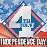 Reminder Date over Rhombus and Patriotic Background for Independence Day Royalty Free Stock Photos