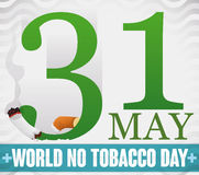 Reminder Date and Sliced Cigarette for World No Tobacco Day, Vector Illustration. Poster with giant number thirty one cutting a cigarette reminding at you the Royalty Free Stock Photography