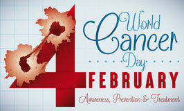 Reminder Date of World Cancer Day with Sick Cells, Vector Illustration Royalty Free Stock Photos