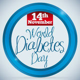 Reminder Date of World Diabetes Day over Blue Circle, Vector Illustration Stock Images