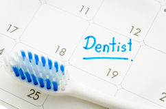 Reminder Dentist appointment in calendar Royalty Free Stock Photo
