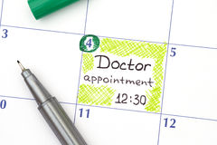 Reminder Doctor appointment in calendar Royalty Free Stock Photography