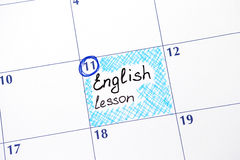 Reminder English lesson in calendar Royalty Free Stock Photo