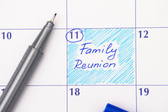 Reminder Family Reunion in calendar. With blue pen Royalty Free Stock Image