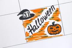Reminder Halloween in calendar Stock Photo