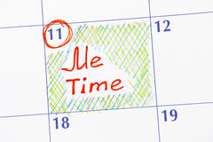 Reminder Me time in calendar. Close-up Stock Photo