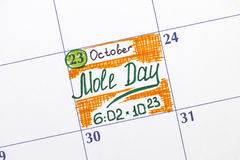 Reminder Mole Day in calendar Stock Images