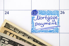 Reminder Mortgage Payment in calendar Royalty Free Stock Photo