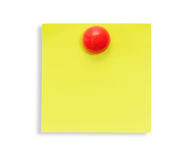 Reminder note. Yellow reminder note with red pin isolated on the white background Royalty Free Stock Photography