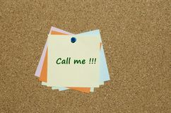 Reminder note with call me message Royalty Free Stock Photo