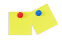 Reminder notes. Yellow reminder notes with red pin isolated on the white background Royalty Free Stock Photos