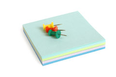 Reminder notes and drawing pins Royalty Free Stock Image
