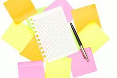 Reminder notes with pen Royalty Free Stock Image