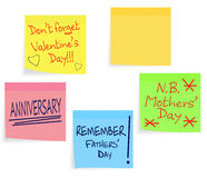 Reminder notes - Valentine, Mothers Day, Fathers D Royalty Free Stock Images