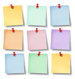 Reminder Office notes. With six blank paper memos on a white background wall pinned with a red thumb tack as a symbol of business communication and sending Royalty Free Stock Photography