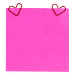 Reminder paper and clip in form of heart isolated Royalty Free Stock Image