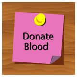 Reminder paper word donate blood vector. Vector Illustration. stock illustration