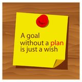 Reminder paper word A goal without a plan is just a wish vector. Vector Illustration. EPS file available. see more images related vector illustration
