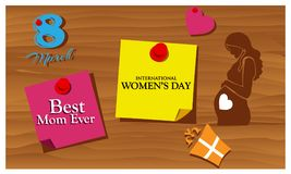 Reminder paper word International Women`s Day. Vector Illustration. EPS file available. see more images related stock illustration