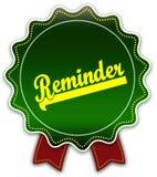REMINDER round green ribbon. vector illustration