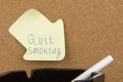 Reminder sticky note quit smoking Royalty Free Stock Images