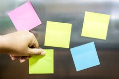 Reminder sticky note on refrigerator. Door Royalty Free Stock Images