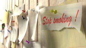 Reminder to quit smoking pinned to a kitchen wall. 3D illustration Royalty Free Stock Photo