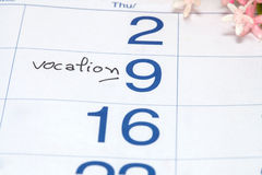 Reminder on vocation  Appointment. On calendar Royalty Free Stock Image