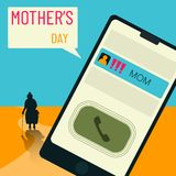 A reminder that you need to remember more often about mom, about parents, especially on mother`s day. vector illustration